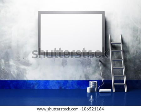 blank advertising billboard on a dirty grunge wall - stock photo