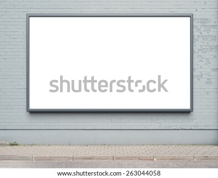 Blank advertising billboard on a street wall. - stock photo