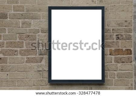 blank advertising billboard on brick wall - stock photo