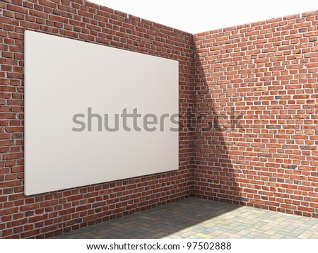 Blank advertising billboard on brick wall