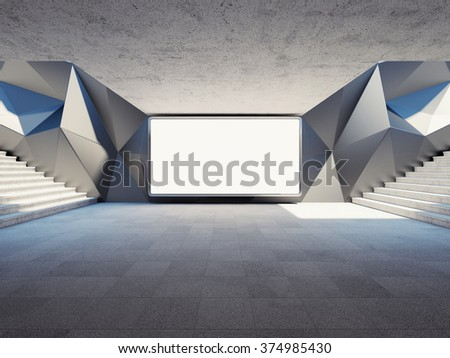 Blank advertising billboard on concrete wall in underground. 3d rendering. - stock photo
