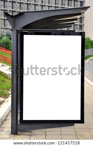 Blank advertising billboard or poster on bus and tram stop - stock photo