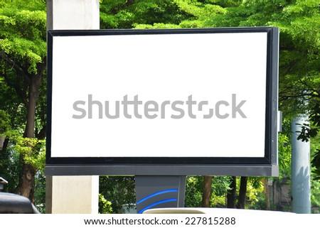 blank advertising billboard post - stock photo
