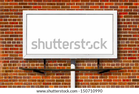 Blank advertising billboard sign on brick wall background texture - stock photo
