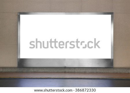 blank advertising billboard with copy space on a street wall - stock photo