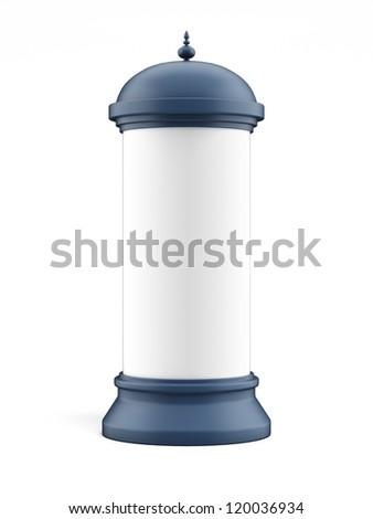 Blank advertising column - stock photo