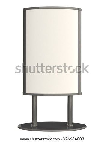 Blank advertising lightbox on white background. Front view.