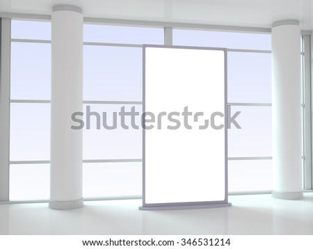 Blank Advertising Panel in Office - 3d illustration - stock photo