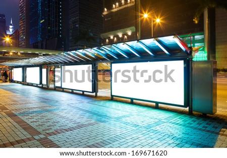 Blank advertising panel on street - stock photo