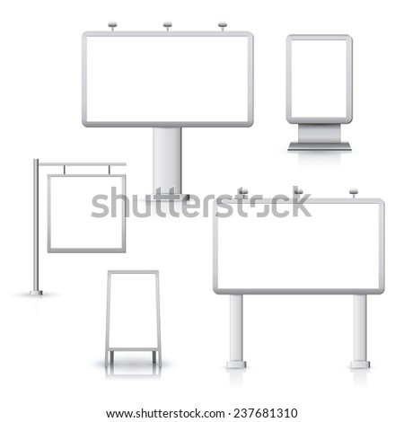 Blank advertising sign outdoor boards set isolated  illustration. - stock photo