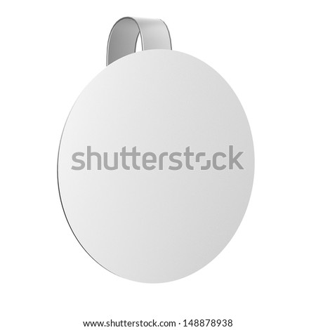 Blank advertising wobbler isolated. In a circle shape. 3d image - stock photo