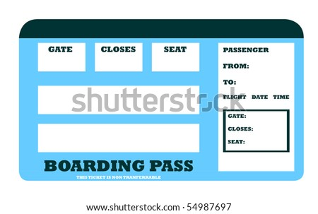 Blank aircraft boarding pass with copy space, isolated on white background.