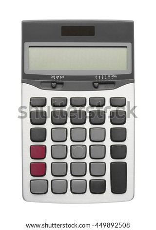 blank all button on silver calculator for your text, isolated included clipping path - stock photo