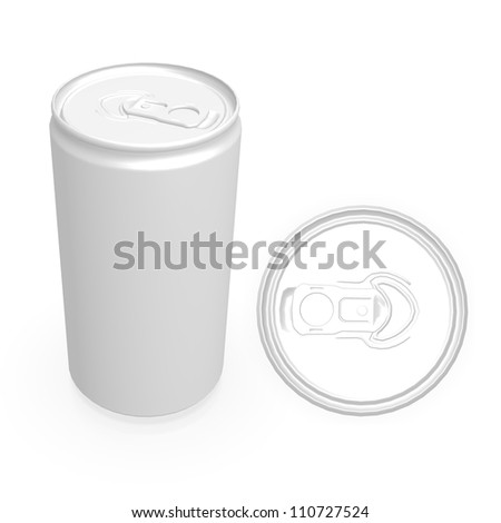 blank aluminium can isolated on a white background - stock photo