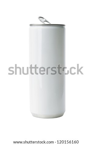 Blank Aluminium Drink Can on White Background - stock photo