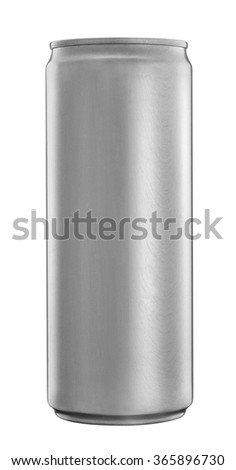 Blank aluminum soda or beer can isolated on white - stock photo