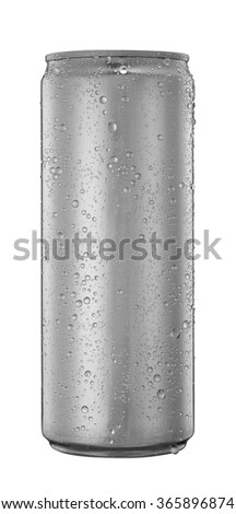Blank aluminum soda or beer can with water drops isolated on white - stock photo