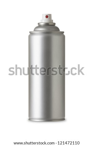 Blank aluminum spray can isolated on white background, Aerosol Spray Can , Metal Bottle Paint Can Realistic photo image