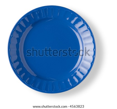 blank and empty blue circular dish over white background with shadow - stock photo