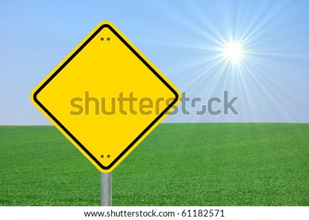 blank and empty yellow road sign with copyspace