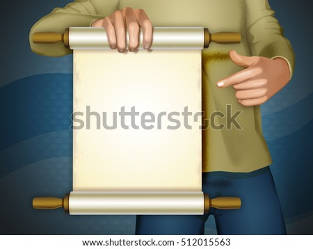 Blank announcement scroll with copyspace. Digital illustration. Clipping path included.