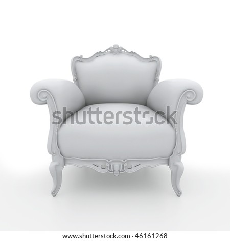 Blank armchair over the white