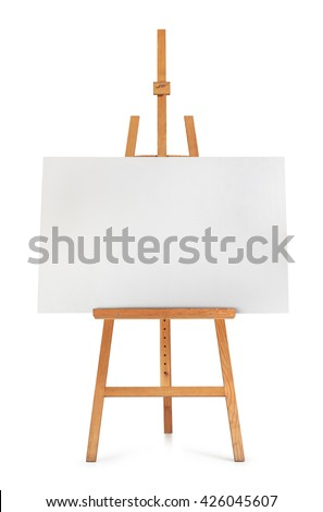 Blank art board and wooden easel isolated on white background