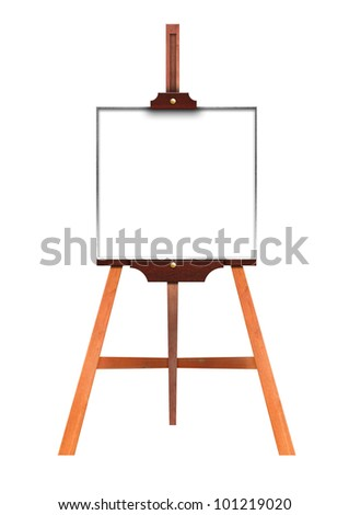 Blank art board, wooden easel, front view, isolated on white - stock photo