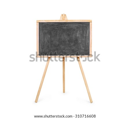 Blank art board, wooden easel, front view, isolated on white, with clipping path - stock photo