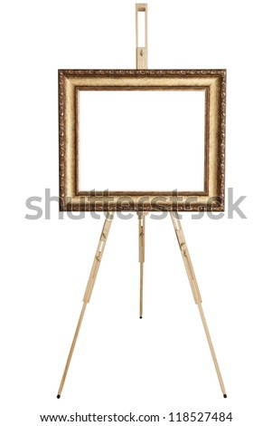 Blank art frame, wooden easel, front view, isolated on white, included clipping path