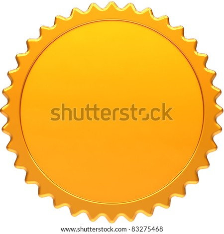 Blank award medal design element. Golden seal concept front view. Luxury champion badge label. Certificate guarantee design element template. Detailed 3d render image. Isolated on white background - stock photo