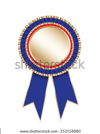 Blank award rosette with ribbon - stock photo