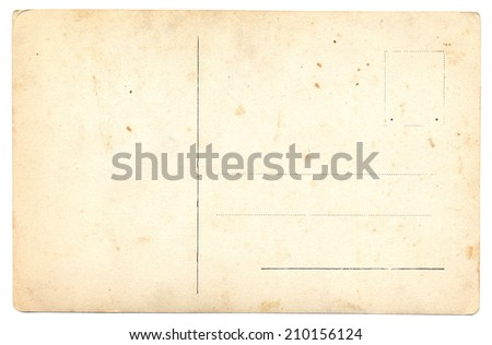 blank back side of an antique post card isolated on white