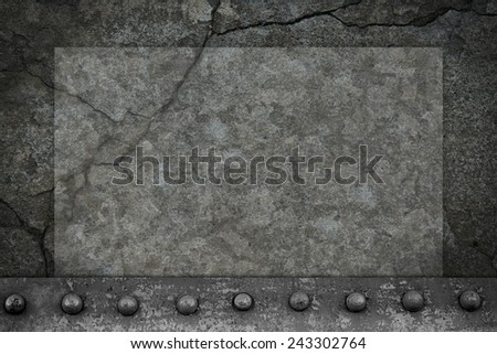 Blank background dark vintage concrete wall with metal rivets - stock photo