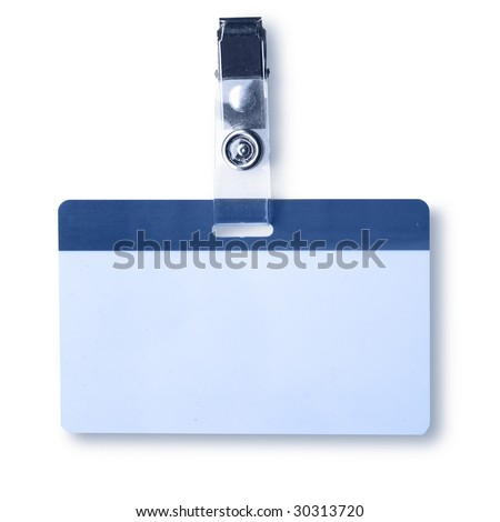 Blank badge close-up isolated over white background - stock photo