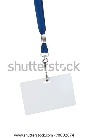 blank badge on blue cord, isolated on white - stock photo