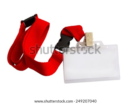 Blank badge on red strap isolated on white background - stock photo
