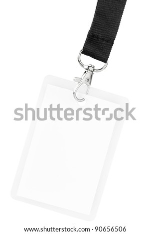 Blank badge or ID pass isolated on white background, clipping path included - stock photo