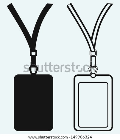 Blank badge with neckband isolated on blue background. Raster version - stock photo