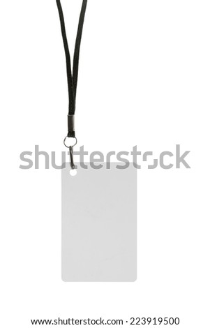 Blank badge with neckband on white background - stock photo