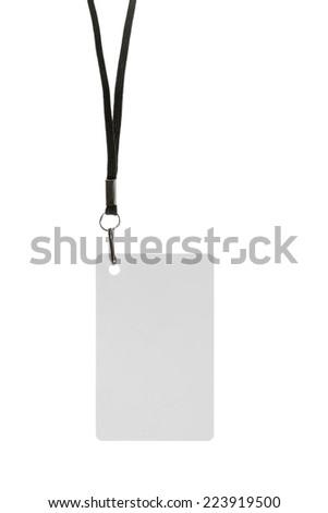 Blank badge with neckband on white background - stock photo