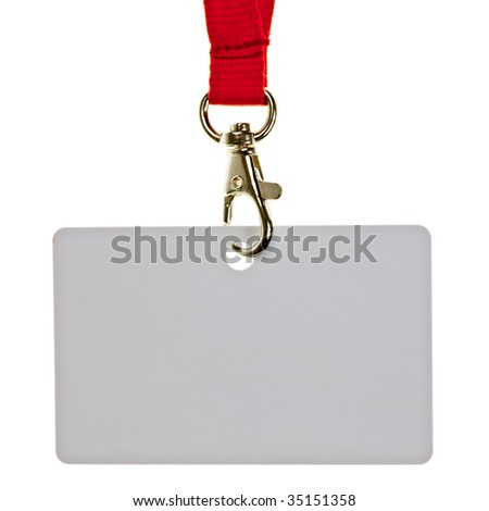 Blank badge with red neckband on white background - stock photo