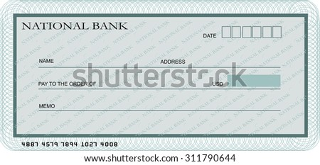 Blank bank cheque template in shades of green