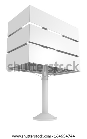 blank banner board on pole isolated