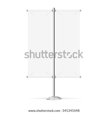Blank Banner Flag Can Be Used For Your Advertising. illustration - stock photo