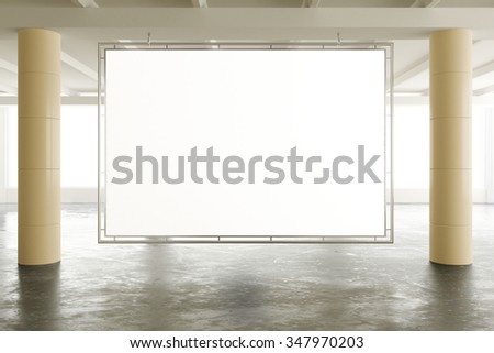 Blank banner in sunny spacious hangar area with concrete floor, mock up 3D Render