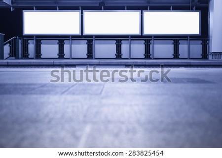 Blank Banner Neon box media Display horizontal sign in subway platform station - stock photo