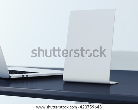 Blank banner on the black office table. 3d rendering