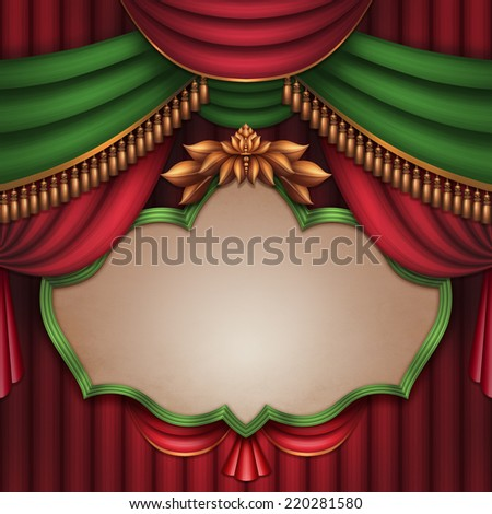 blank banner over red and green theater stage curtain, performance placard, vintage playbill, festive Christmas background - stock photo