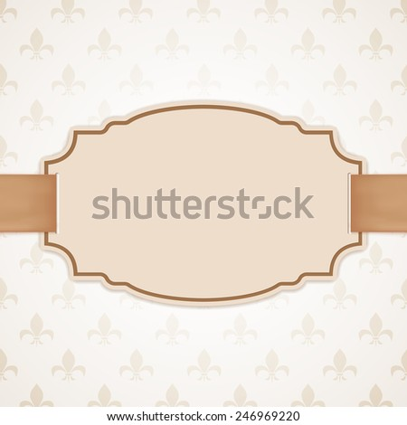 Blank banner with golden ribbon. Vintage, classic background